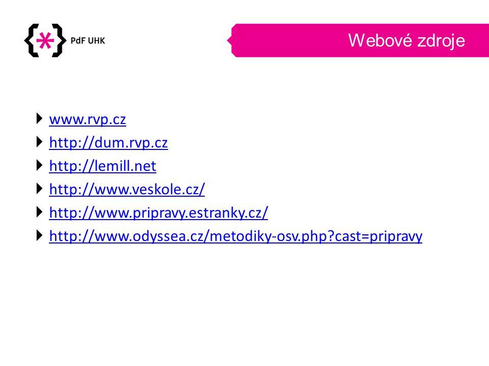 Webové zdroje www.rvp.cz http://dum.rvp.cz http://lemill.net