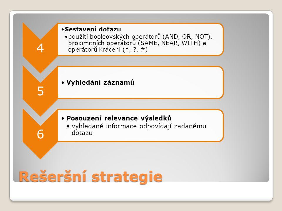 Rešeršní strategie 4 5 6 Vyhledání záznamů