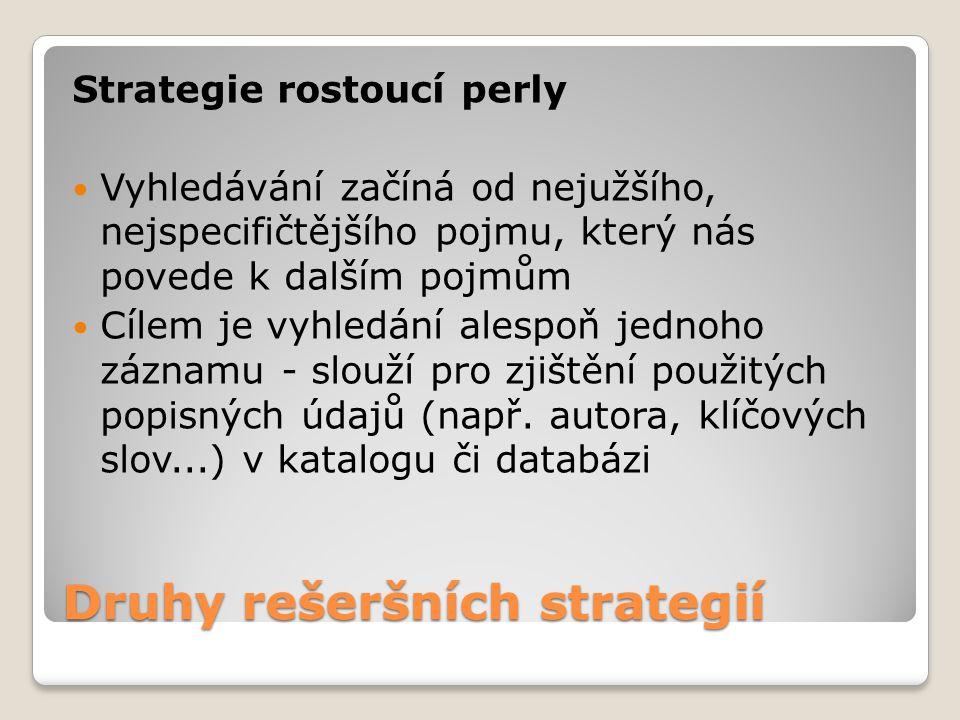 Druhy rešeršních strategií