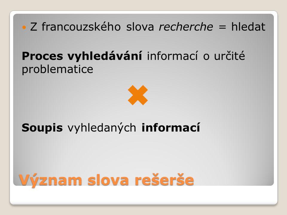 Význam slova rešerše Z francouzského slova recherche = hledat