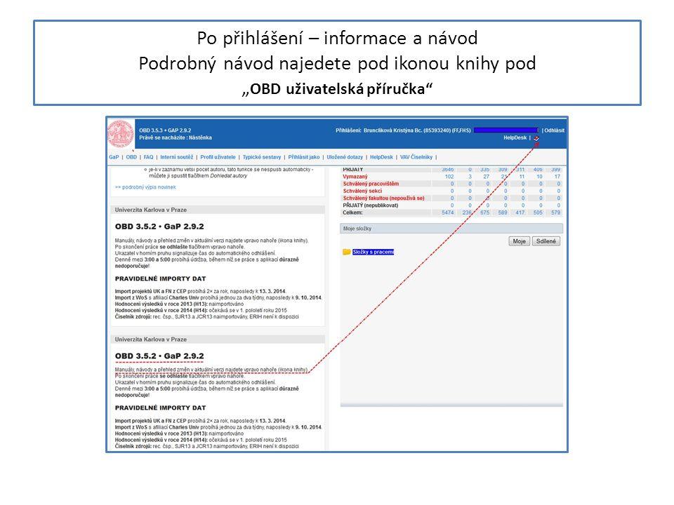 """Po přihlášení – informace a návod Podrobný návod najedete pod ikonou knihy pod """"OBD uživatelská příručka"""