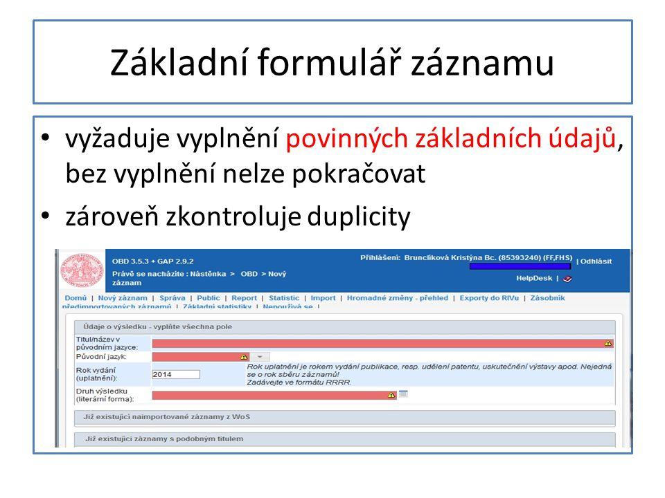 Základní formulář záznamu
