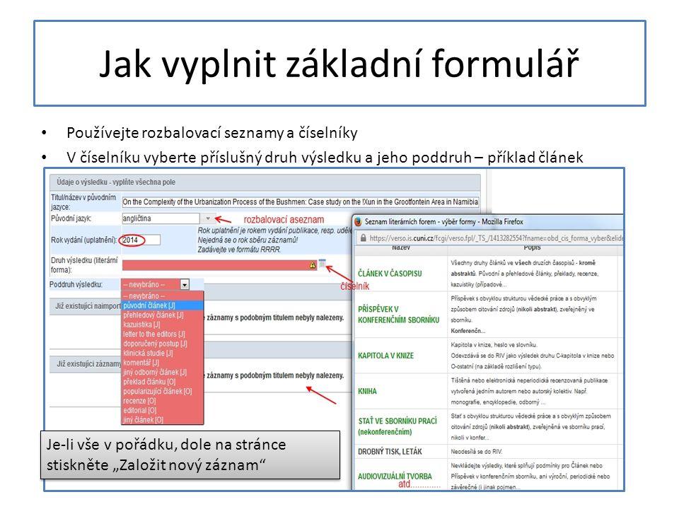 Jak vyplnit základní formulář