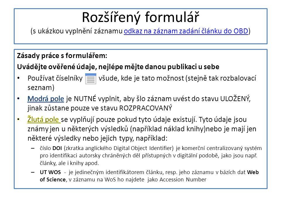 Rozšířený formulář (s ukázkou vyplnění záznamu odkaz na záznam zadání článku do OBD)