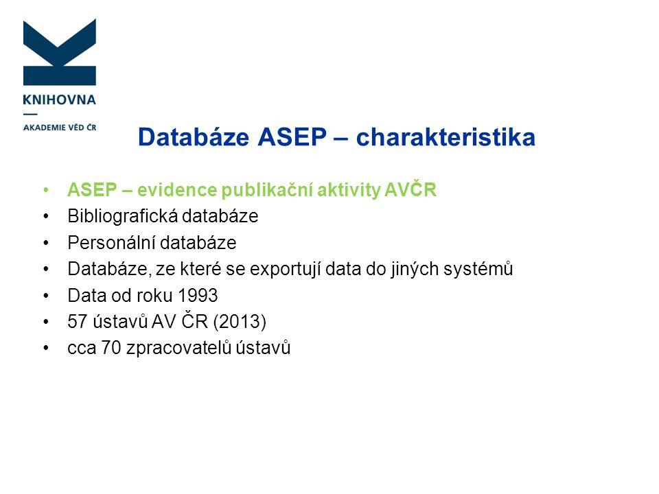 Databáze ASEP – charakteristika
