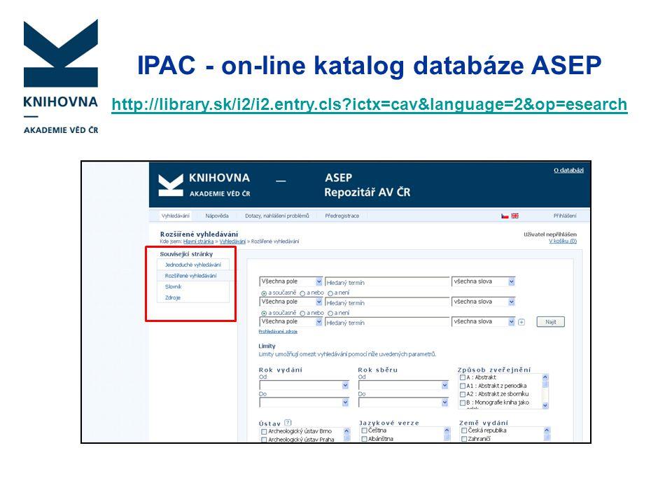 IPAC - on-line katalog databáze ASEP