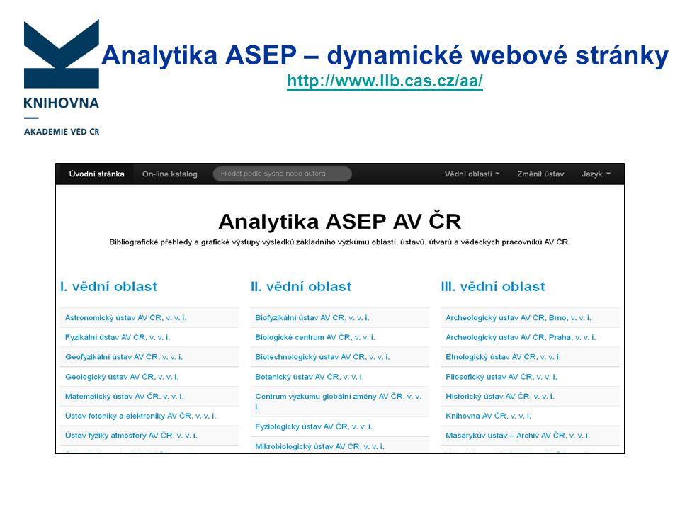 Analytika ASEP – dynamické webové stránky http://www.lib.cas.cz/aa/