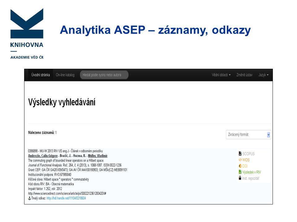 Analytika ASEP – záznamy, odkazy