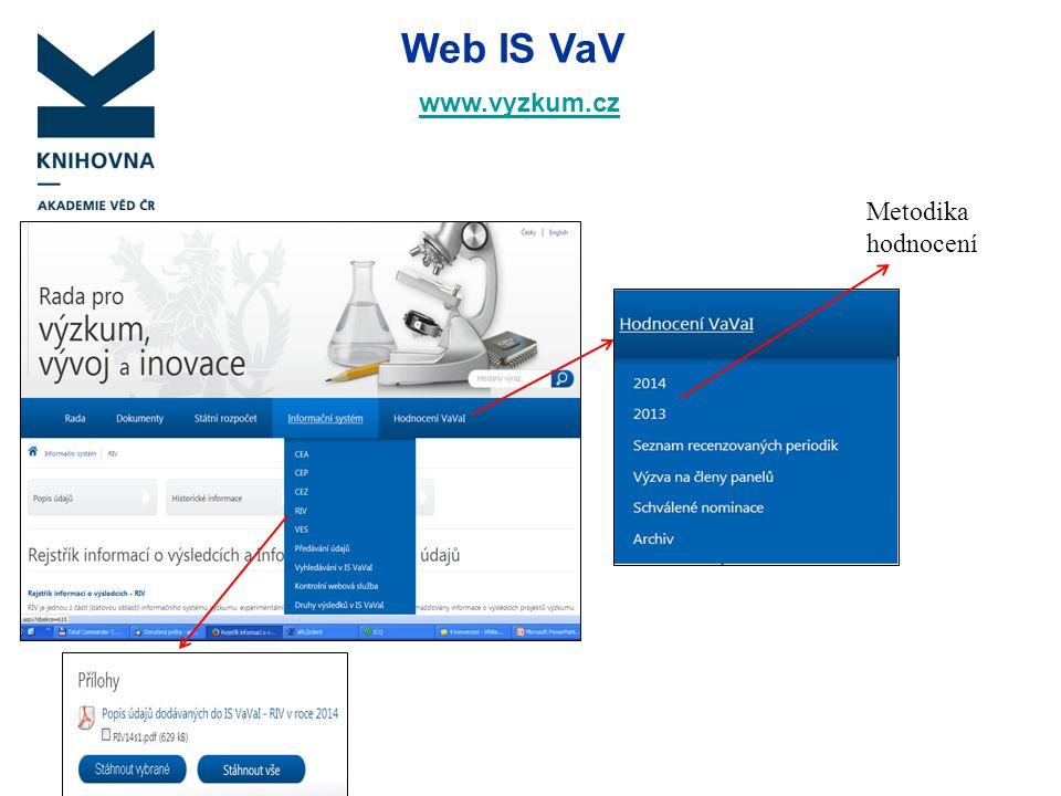 Web IS VaV www.vyzkum.cz Metodika hodnocení