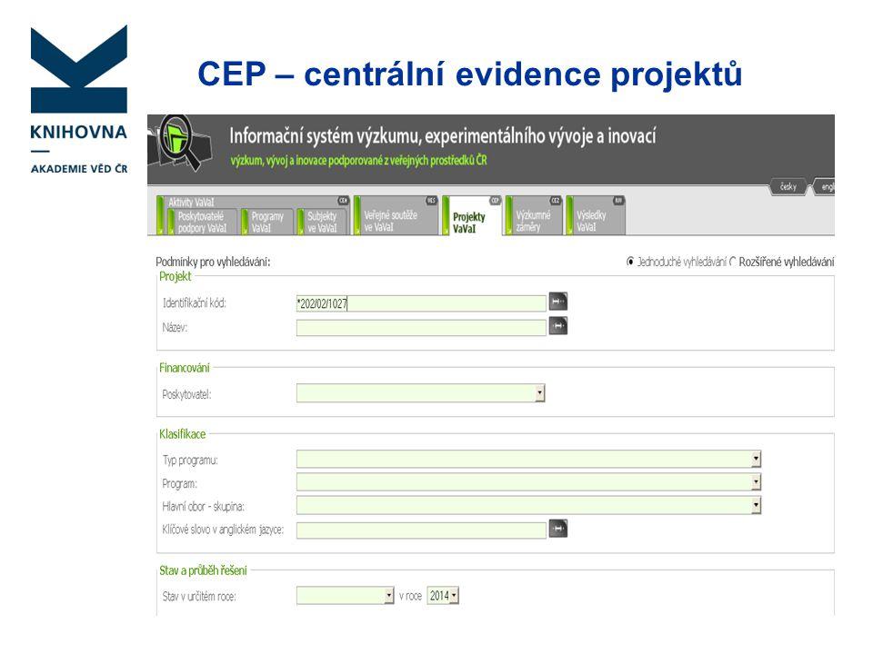 CEP – centrální evidence projektů