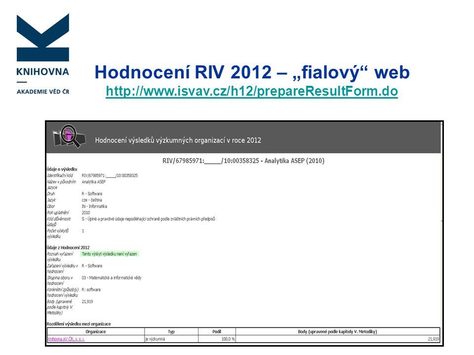 """Hodnocení RIV 2012 – """"fialový web"""