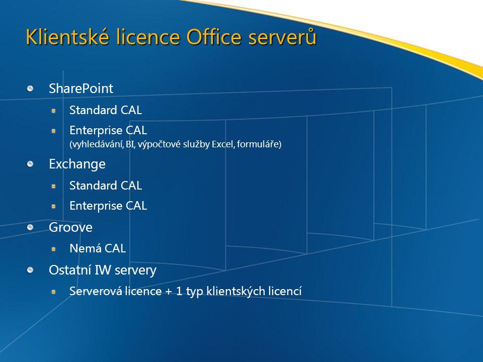 Klientské licence Office serverů