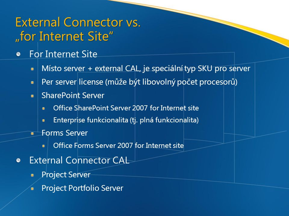 "External Connector vs. ""for Internet Site"