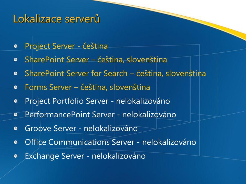 Lokalizace serverů Project Server - čeština