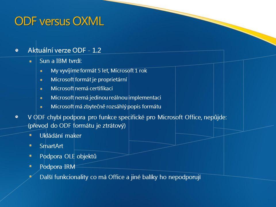 ODF versus OXML Aktuální verze ODF - 1.2 Sun a IBM tvrdí: