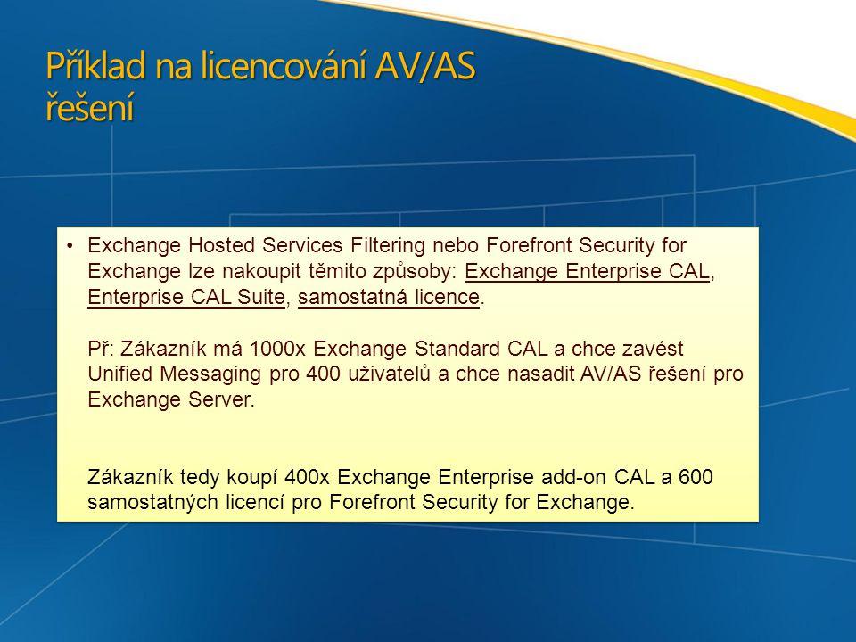 Příklad na licencování AV/AS řešení