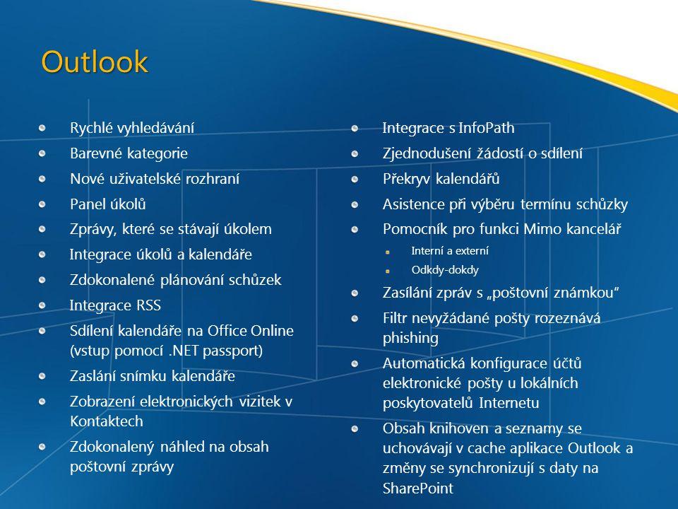 Outlook Rychlé vyhledávání Integrace s InfoPath Barevné kategorie