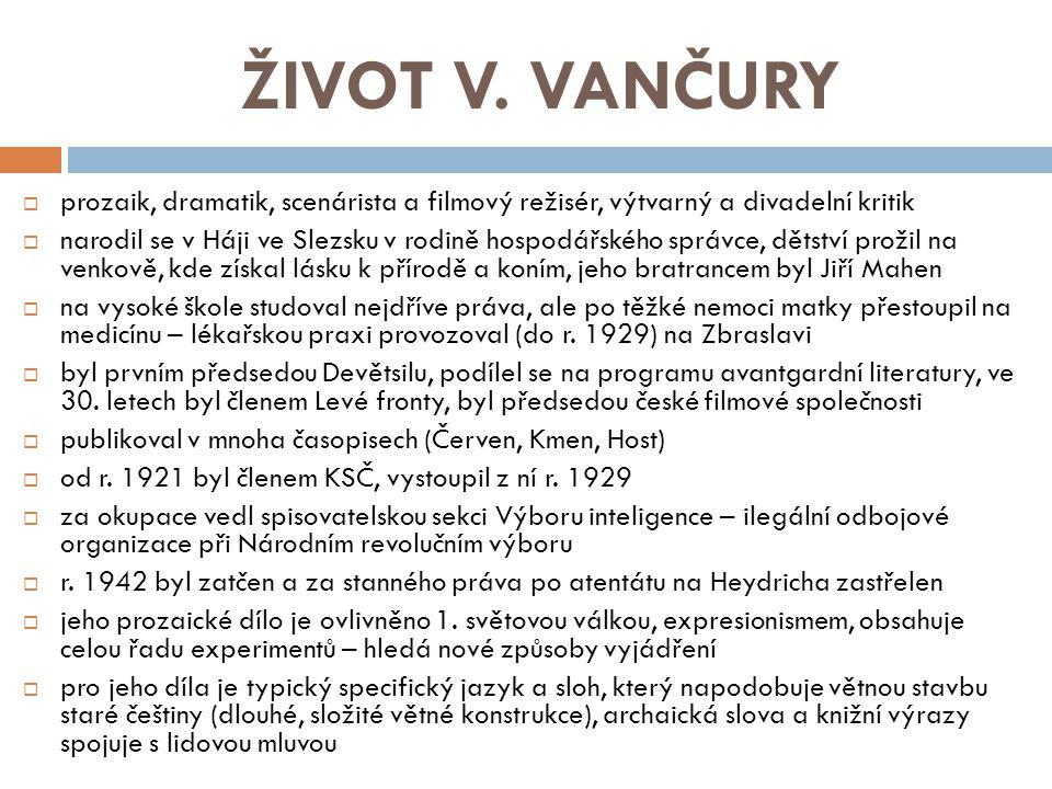 ŽIVOT V. VANČURY prozaik, dramatik, scenárista a filmový režisér, výtvarný a divadelní kritik.
