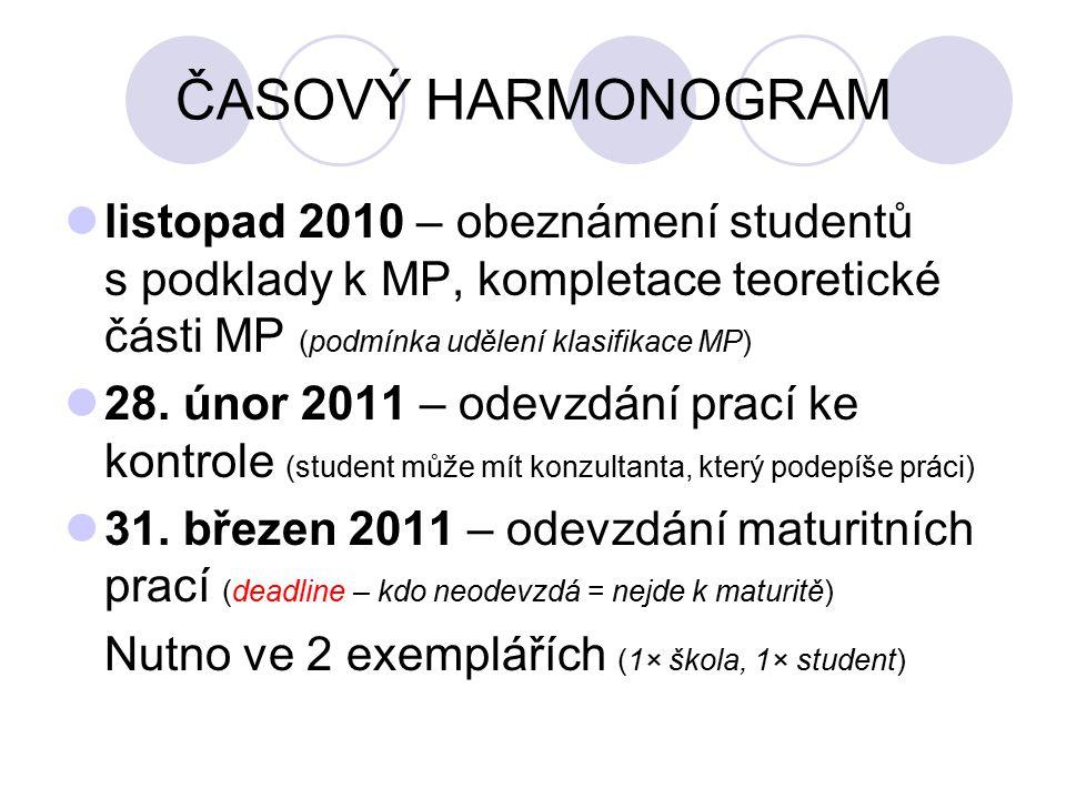 ČASOVÝ HARMONOGRAM listopad 2010 – obeznámení studentů s podklady k MP, kompletace teoretické části MP (podmínka udělení klasifikace MP)