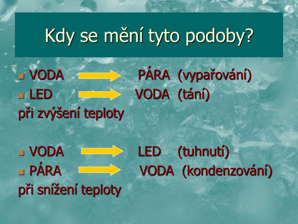 Kdy se mění tyto podoby VODA PÁRA (vypařování) LED VODA (tání)