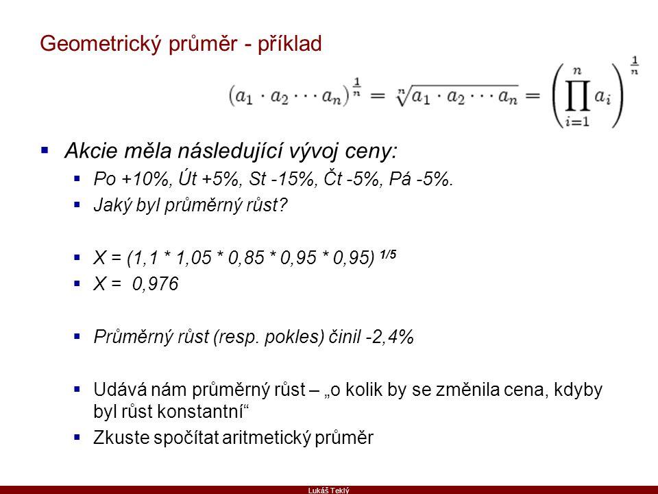 Geometrický průměr - příklad