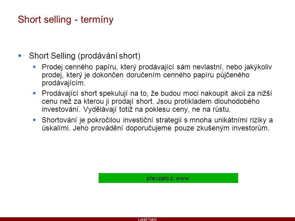 Short selling - termíny