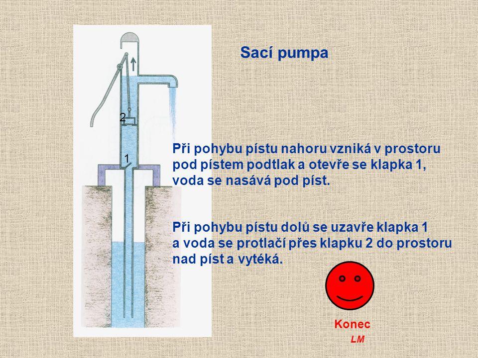 Sací pumpa Při pohybu pístu nahoru vzniká v prostoru
