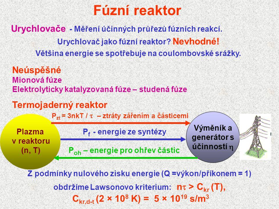 Fúzní reaktor Urychlovače - Měření účinných průřezů fúzních reakcí.
