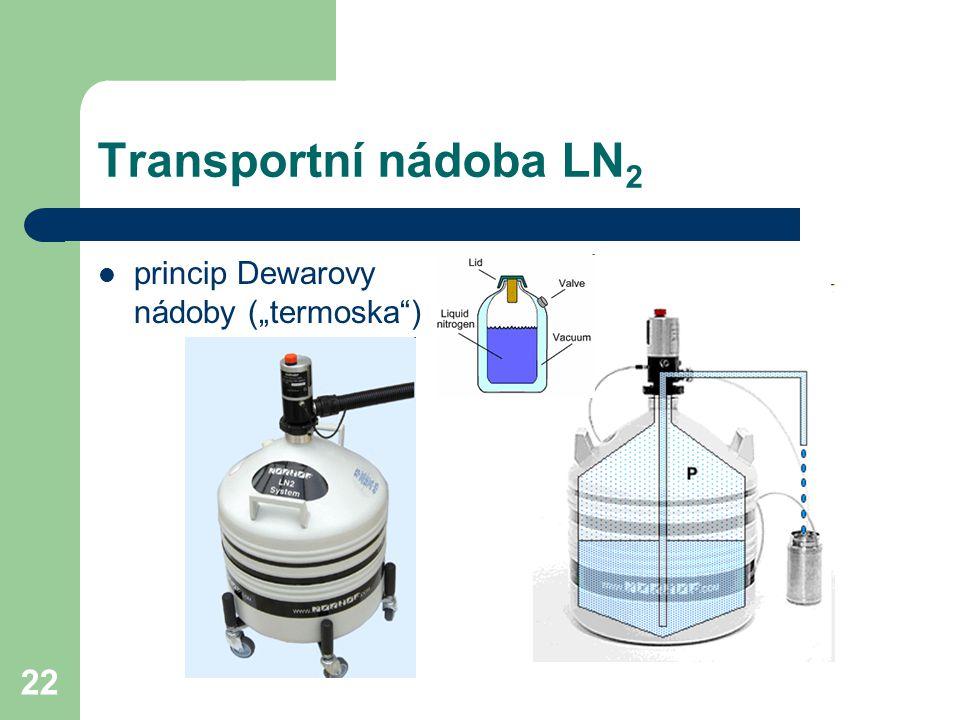 """Transportní nádoba LN2 princip Dewarovy nádoby (""""termoska )"""
