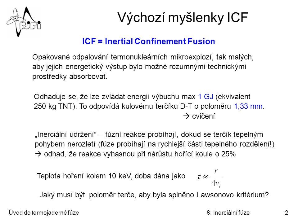 Výchozí myšlenky ICF ICF = Inertial Confinement Fusion