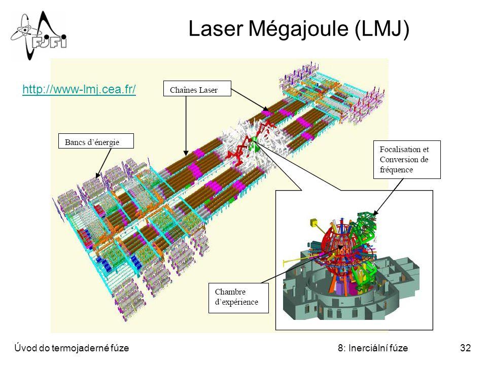 Laser Mégajoule (LMJ) http://www-lmj.cea.fr/ Úvod do termojaderné fúze