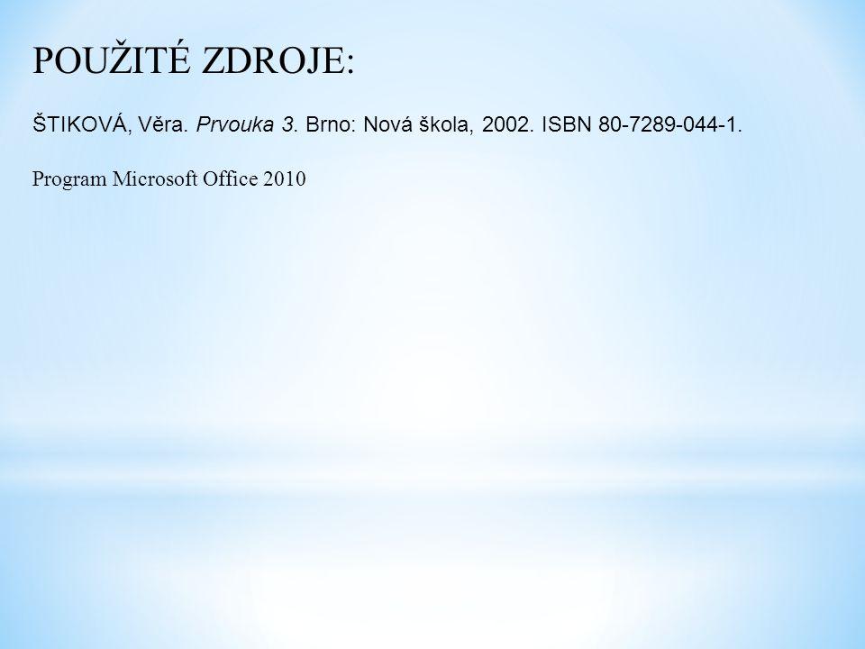 POUŽITÉ ZDROJE: ŠTIKOVÁ, Věra. Prvouka 3. Brno: Nová škola, 2002.