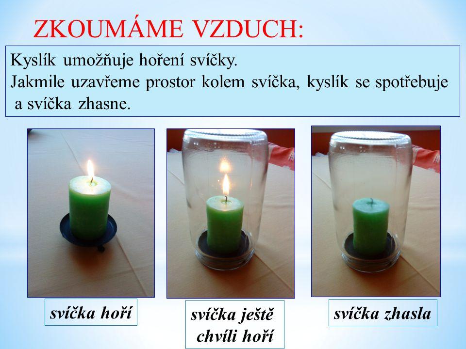 ZKOUMÁME VZDUCH: Kyslík umožňuje hoření svíčky.