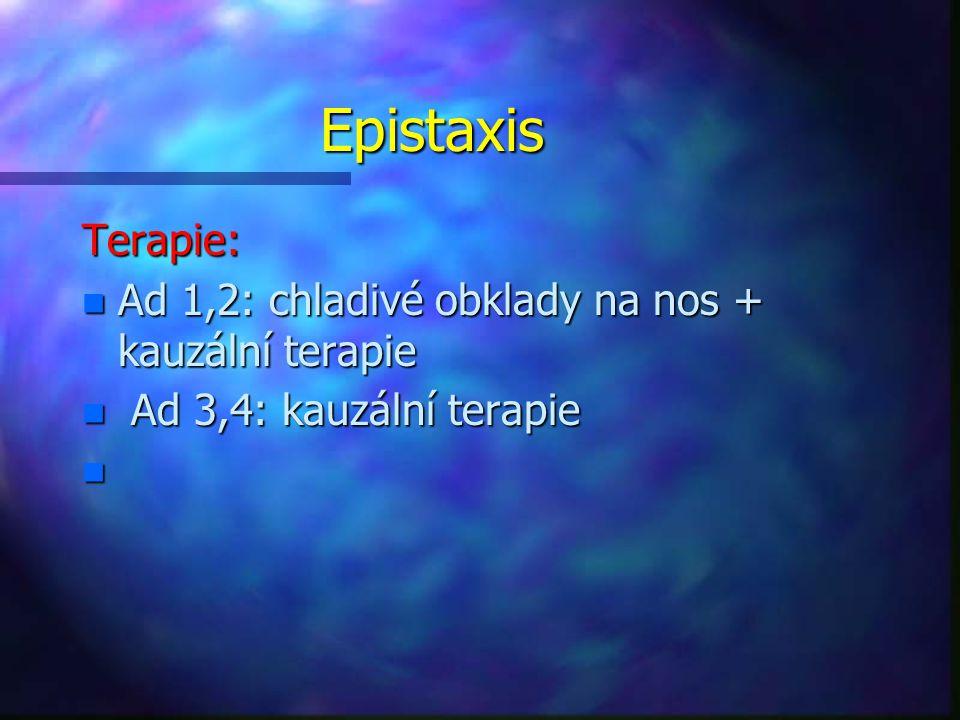 Epistaxis Terapie: Ad 1,2: chladivé obklady na nos + kauzální terapie