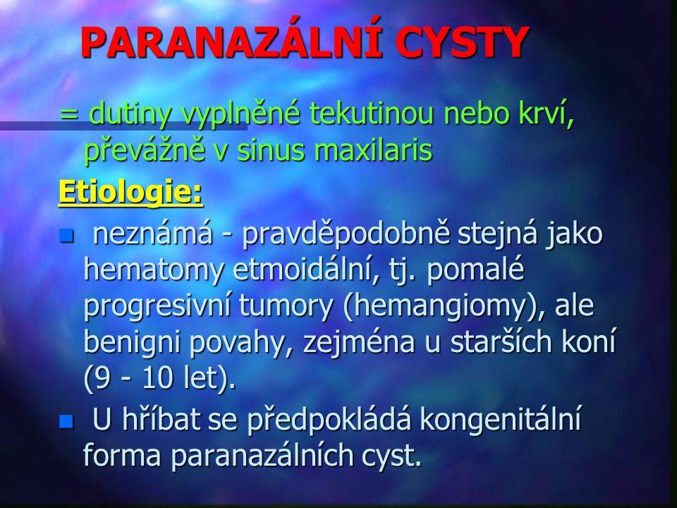 PARANAZÁLNÍ CYSTY = dutiny vyplněné tekutinou nebo krví, převážně v sinus maxilaris. Etiologie: