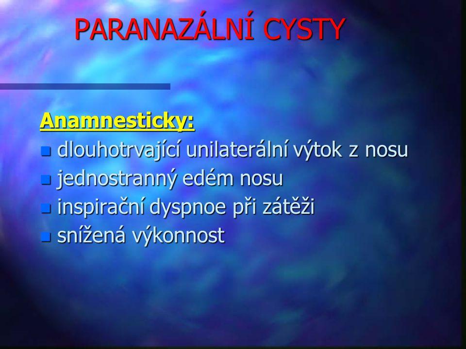 PARANAZÁLNÍ CYSTY Anamnesticky: