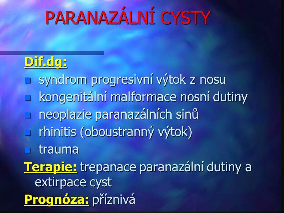 PARANAZÁLNÍ CYSTY Dif.dg: syndrom progresivní výtok z nosu