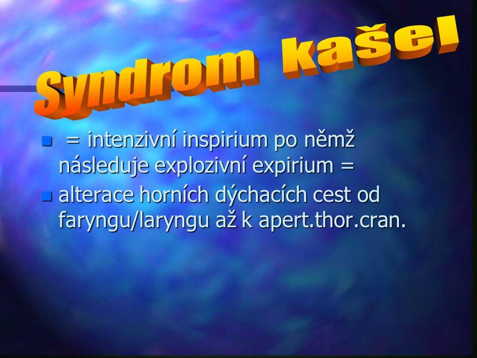 Syndrom kašel = intenzivní inspirium po němž následuje explozivní expirium =