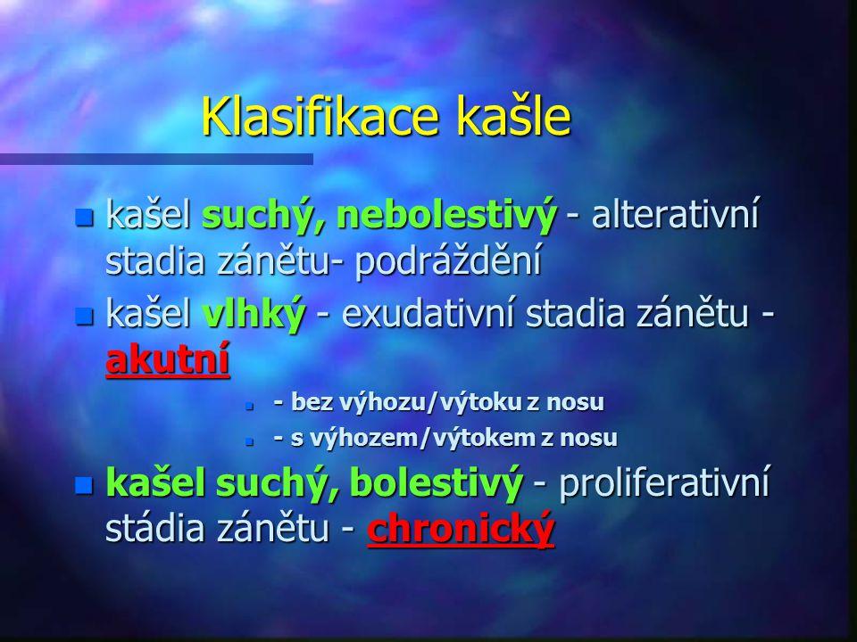 Klasifikace kašle kašel suchý, nebolestivý - alterativní stadia zánětu- podráždění. kašel vlhký - exudativní stadia zánětu - akutní.
