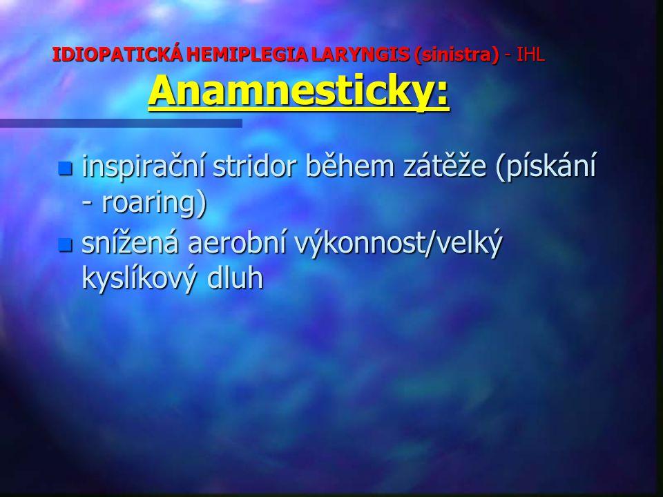 IDIOPATICKÁ HEMIPLEGIA LARYNGIS (sinistra) - IHL Anamnesticky: