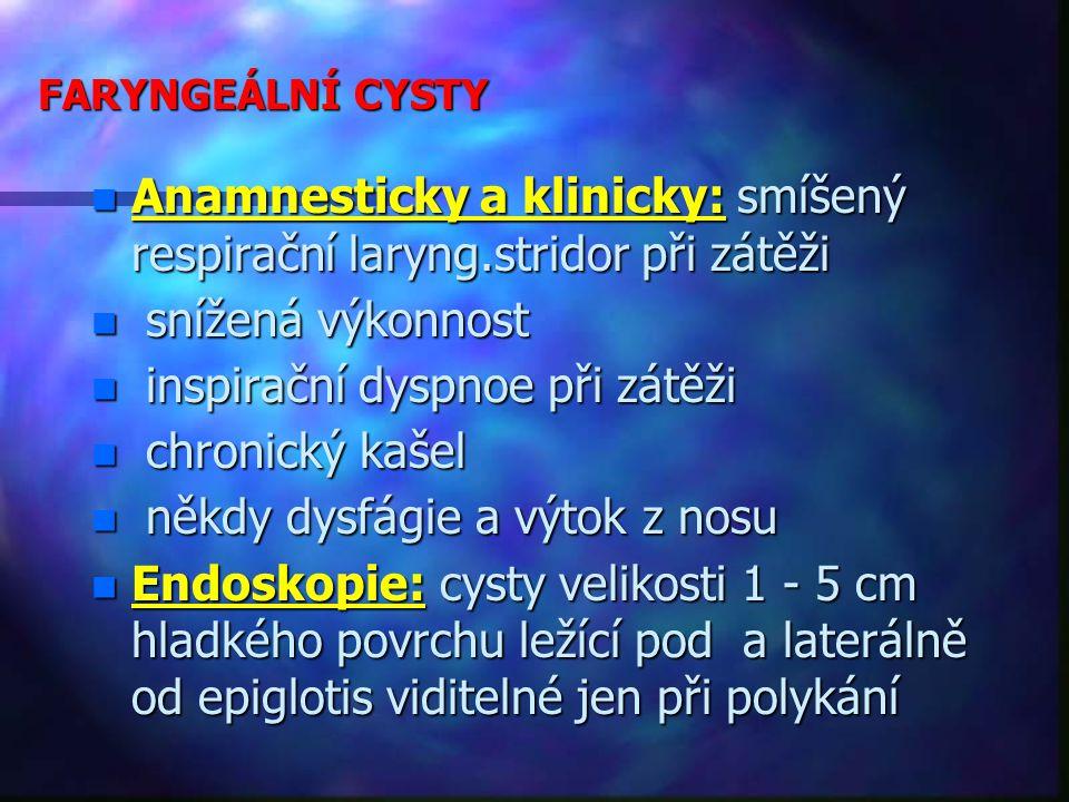 Anamnesticky a klinicky: smíšený respirační laryng.stridor při zátěži
