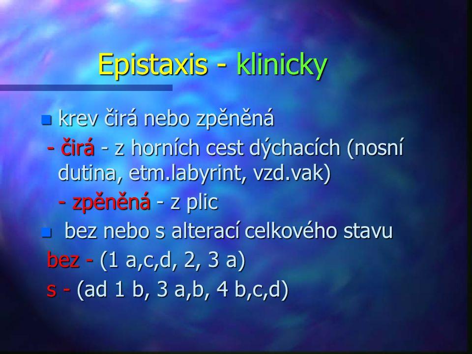Epistaxis - klinicky krev čirá nebo zpěněná
