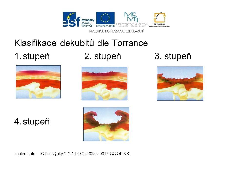 Klasifikace dekubitů dle Torrance stupeň 2. stupeň 3. stupeň