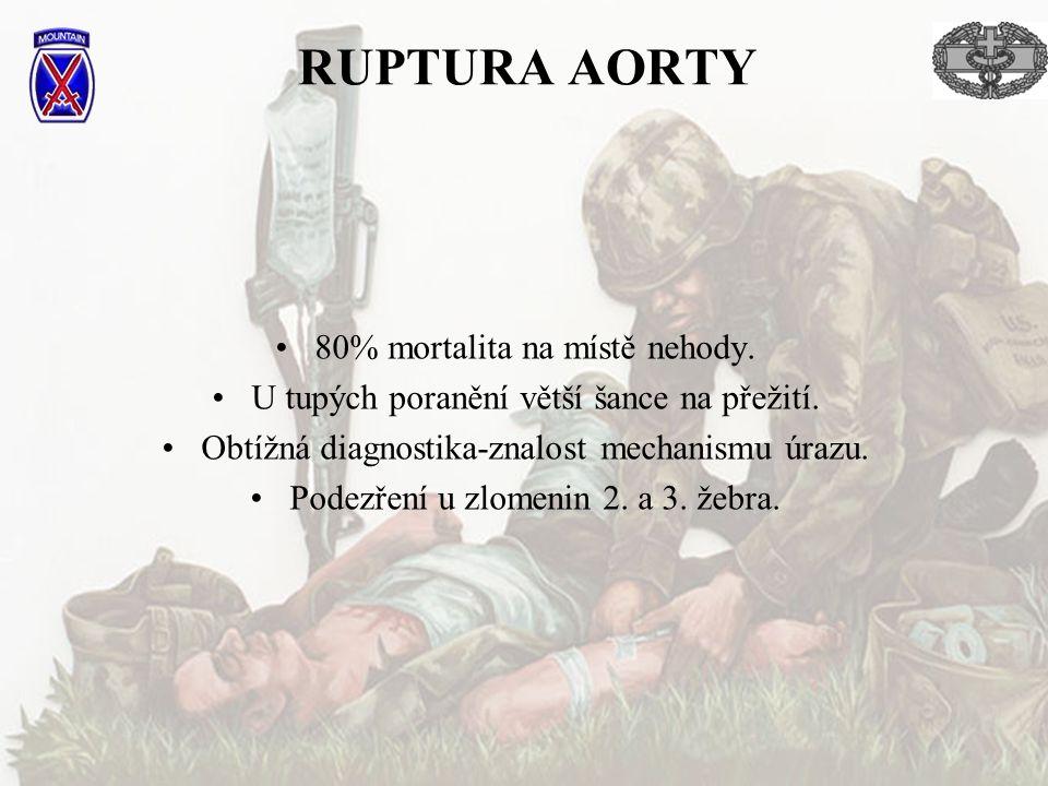 RUPTURA AORTY 80% mortalita na místě nehody.