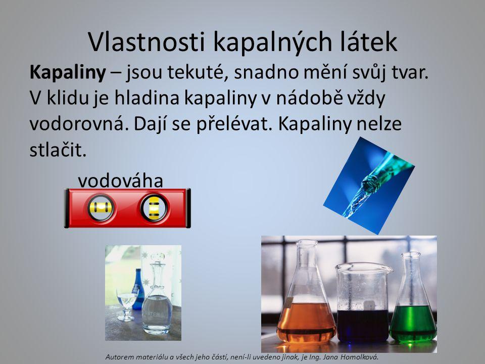 Vlastnosti kapalných látek
