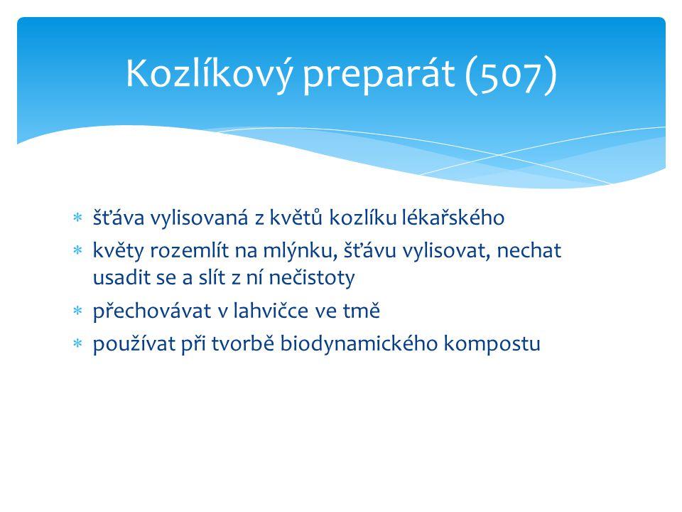 Kozlíkový preparát (507) šťáva vylisovaná z květů kozlíku lékařského