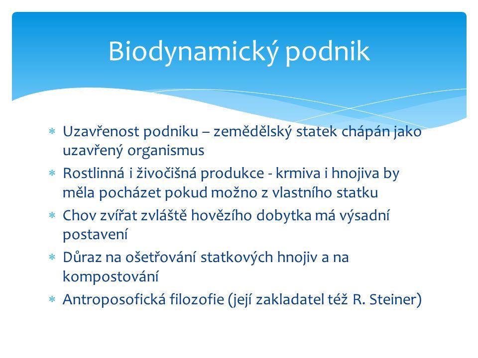 Biodynamický podnik Uzavřenost podniku – zemědělský statek chápán jako uzavřený organismus.