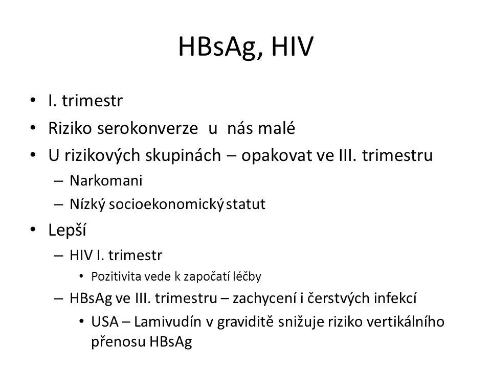 HBsAg, HIV I. trimestr Riziko serokonverze u nás malé