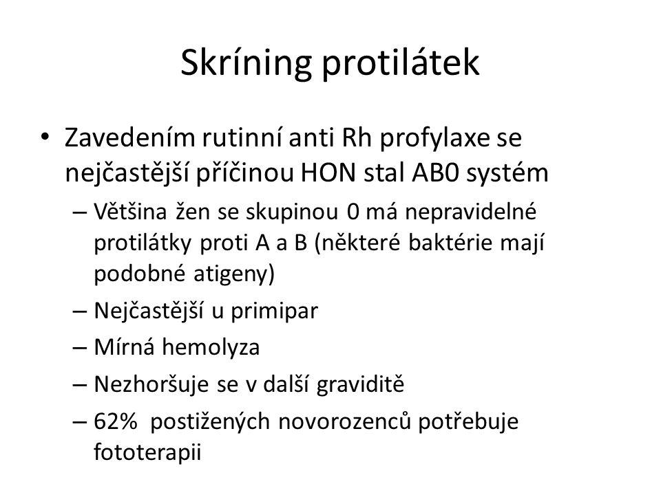 Skríning protilátek Zavedením rutinní anti Rh profylaxe se nejčastější příčinou HON stal AB0 systém.
