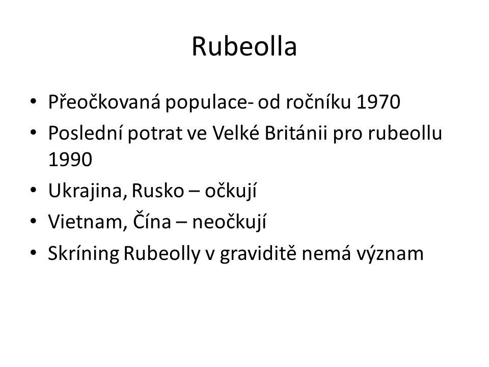 Rubeolla Přeočkovaná populace- od ročníku 1970